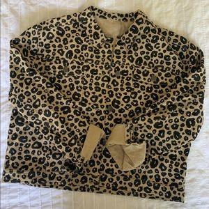 NWT Leopard Print Jean Jacket